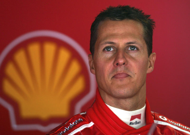 Michael Schumacher looks on in the pit on May 22, 2005 in Monte Carlo, Monaco. (Credit: Getty Images)