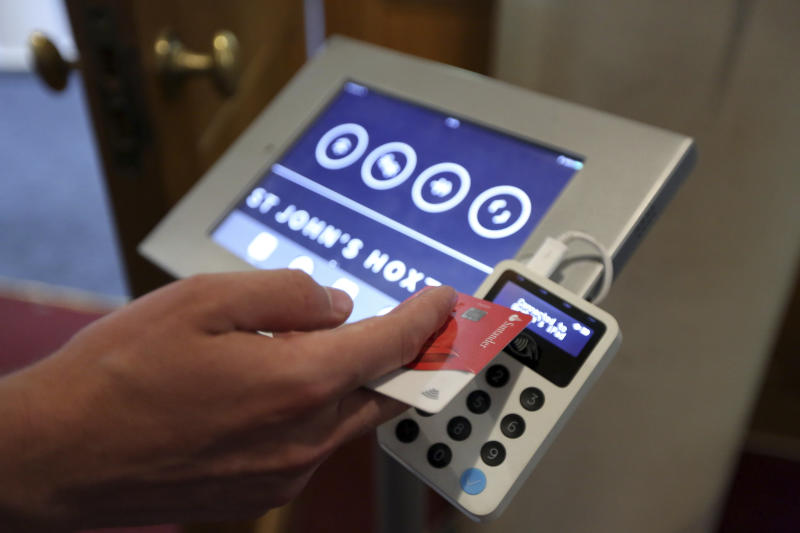 tap and pray churches using card readers for donations