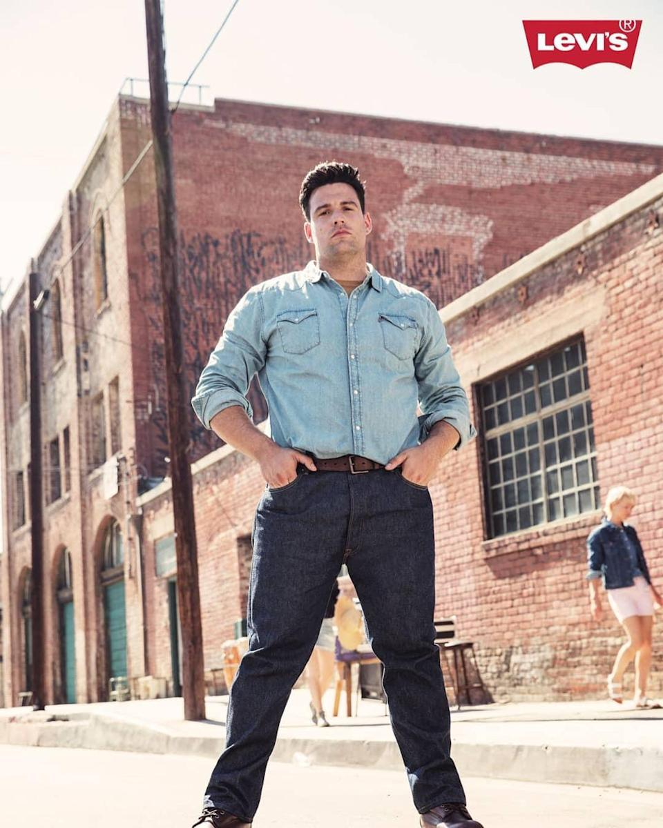 The new model poses in an all-denim look. (Photo: Courtesy of Levi's)