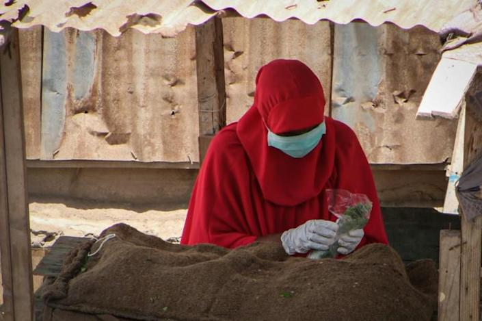 A woman at a market selling khat, a chewed narcotic leaf popular in the region (AFP Photo/-)