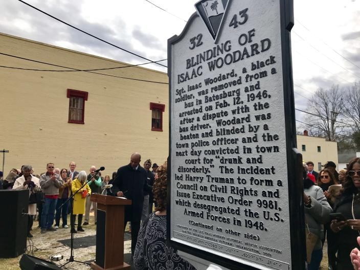 FILE - In this Feb. 9, 2019, file photo, the Blinding of Isaac Woodard historical marker was dedicated in Batesburg-Leesville, S.C. Videos of Lt. Caron Nazario, a Black and Latino Army lieutenant who was pepper sprayed and handcuffed during a traffic stop in rural Virginia, have been viewed millions of times. Thousands of Black men who served in the Civil War, World War I, and World War II were targeted because of their service and threatened, assaulted or lynched, according to a 2017 Equal Justice Initiative report. Woodard, a uniformed World War II veteran was headed home on a bus in 1946, when he was removed and beaten by a white South Carolina police chief, leaving Woodard permanently blind. (AP Photo/Christina Myers, File)