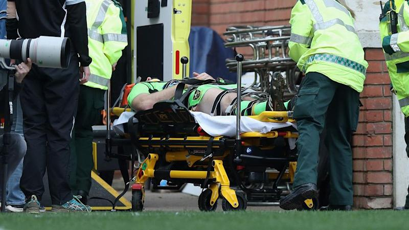 Horne being stretchered off while playing for Northampton. Pic: Getty