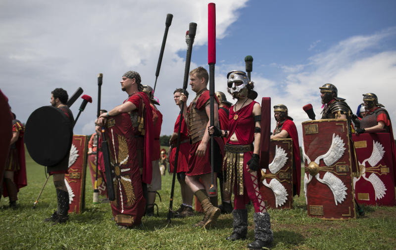People prepare to battle at Ragnarok, an annual live action role-playing battle in Slippery Rock, Pennsylvania, on June 23, 2018.