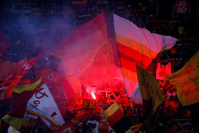 Soccer Football - Champions League Semi Final Second Leg - AS Roma v Liverpool - Stadio Olimpico, Rome, Italy - May 2, 2018 Roma fans with a flare REUTERS/Tony Gentile