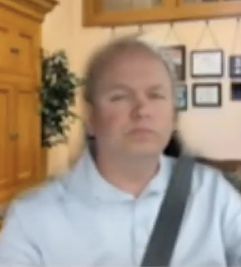 Senator Andrew Brenner pictured wearing a seat belt and with a fake Zoom background.
