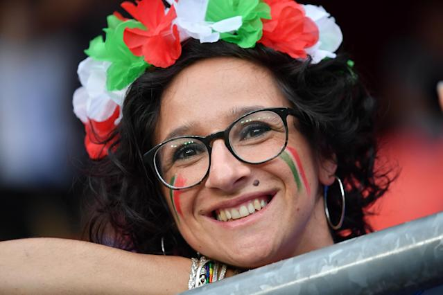 Italian fan is seen during the match between Italy vs Brasil at the FIFA Women's World Cup in France at Stade du Hainaut, on the 18 June 2019.(Photo by Julien Mattia/NurPhoto via Getty Images)