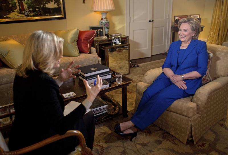 Handout photo of Hillary Clinton's interview with ABC News anchor Diane Sawyer in Washington