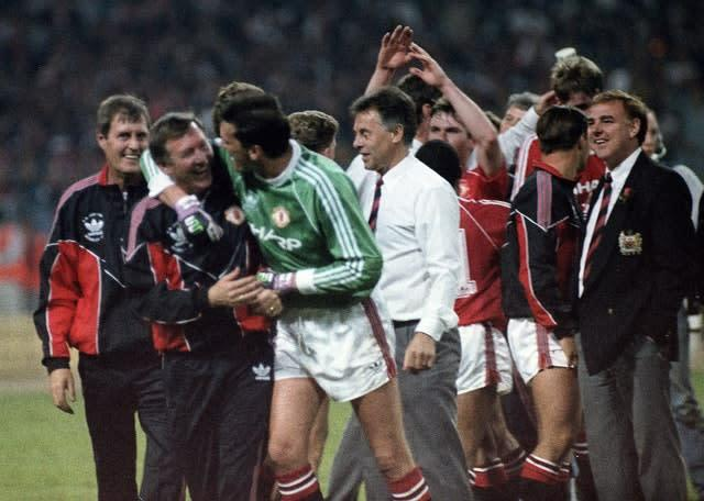 Manchester United won their first trophy under Alex Ferguson a few weeks after Liverpool's last title success (PA)