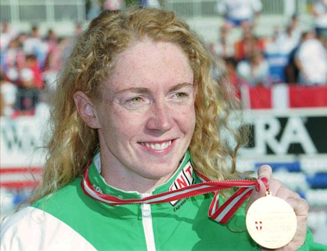 After years of drug accusations, Irish swimmer Michelle Smith was handed a four-year suspension in 1998 after a routine urine test revealed traces of both alcohol and the drug Androstenedione. However, Smith was not stripped of her four Olympic medals, including three golds, from the 1996 Atlanta Games. (AP Photo/Thomas Kienzle)