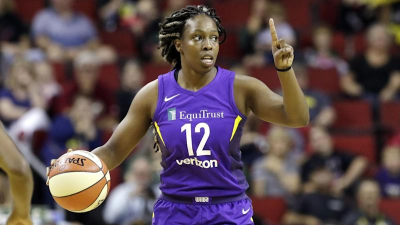 Sparks' Chelsea Gray in action against the Seattle Storm.