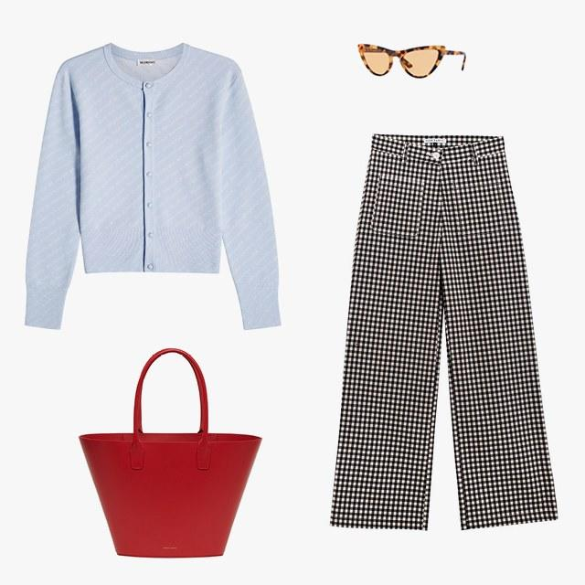 Balenciaga logo-print wool cardigan, $630, stylebop.com; Gigi Hadid for Vogue sunglasses, $140, vogue-eyewear.com; Side Party gingham pants, $150, bonadrag.com; Mansur Gavriel triangle calf tote bag, $745, mansurgavriel.com
