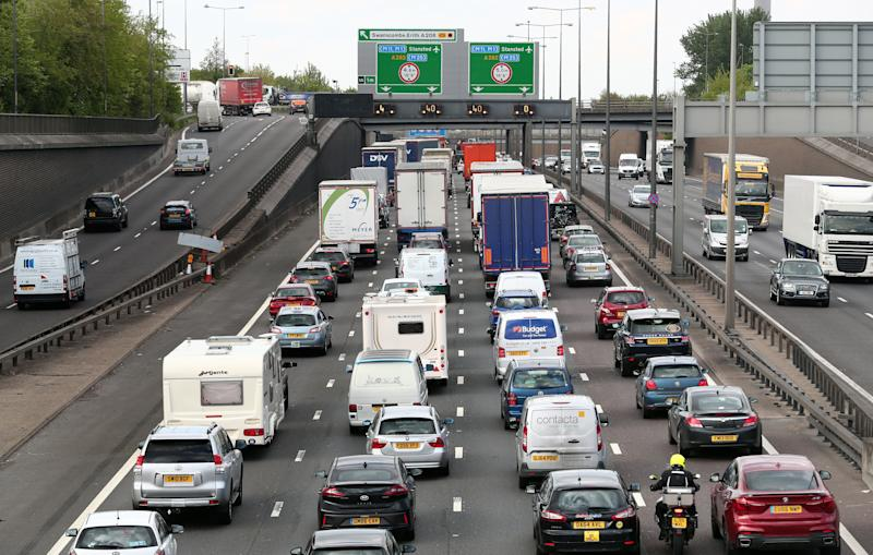 Traffic queues on the M25 near Dartford in Kent as the bank holiday getaway begins.