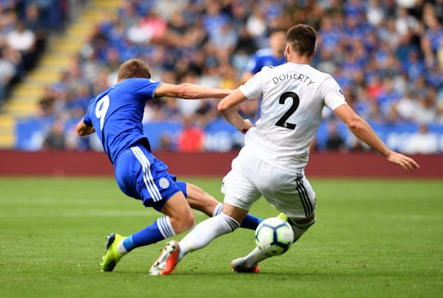 Jamie Vardy was rightly red-cared for this high and dangerous lunge on Matt Doherty