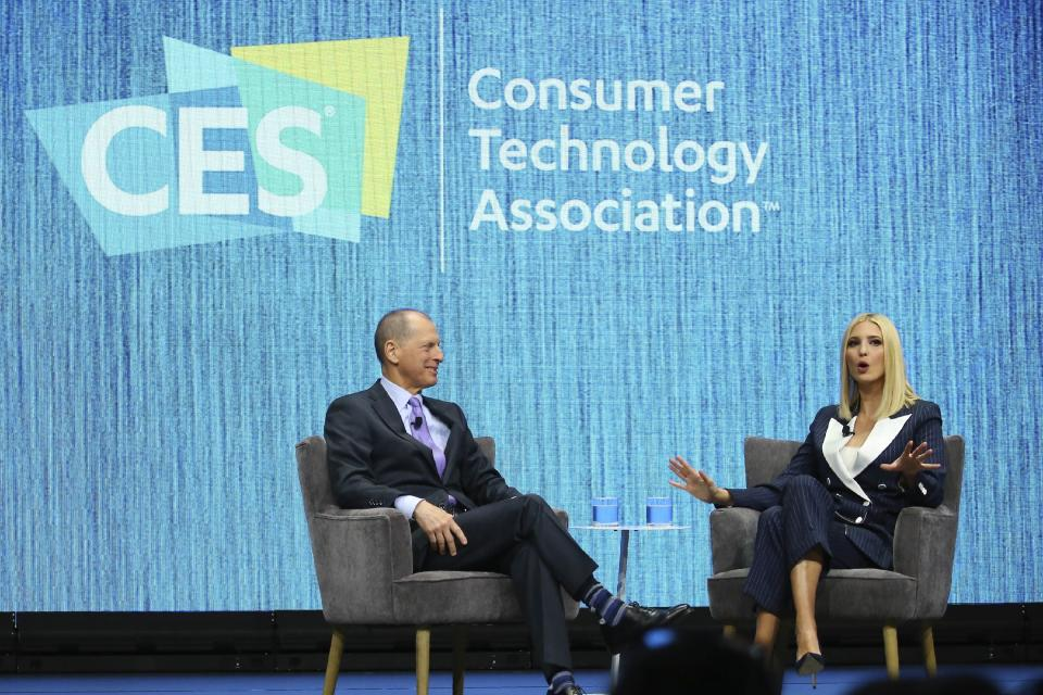 Ivanka Trump, right, the daughter and senior adviser to U.S. President Donald Trump, answers a question as she is interviewed by Gary Shapiro, left, CEO of the Consumer Technology Association, at the Consumer Technology Association Keynote during the CES tech show Tuesday, Jan. 7, 2020, in Las Vegas. (AP Photo/Ross D. Franklin)