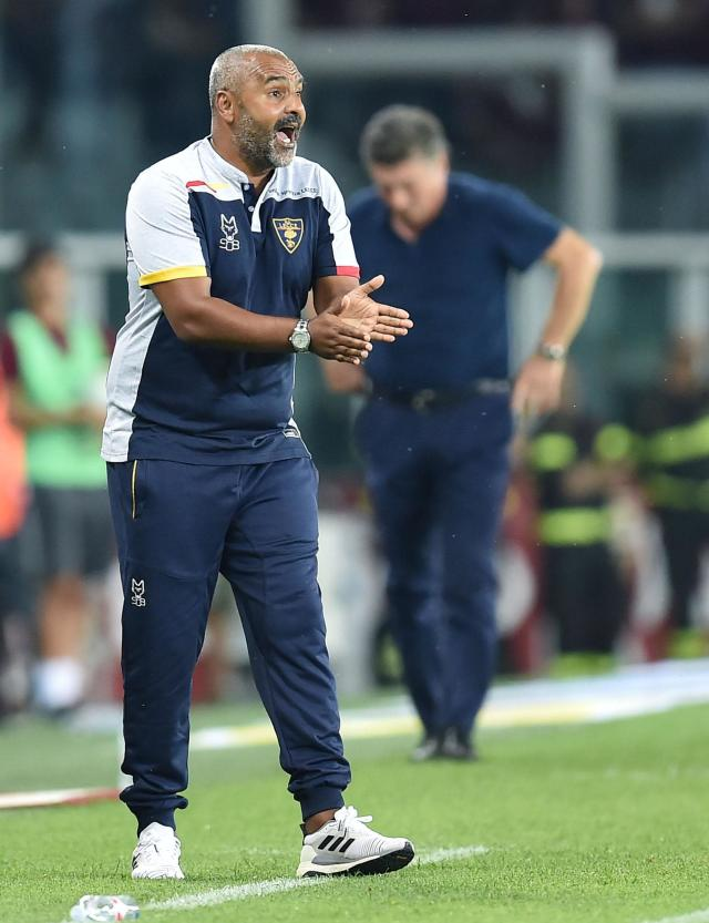 Lecce's coach Fabio Liverani on the touchline during the Italian Serie A soccer match between Torino FC and US Lecce at the Olimpico Grande Torino stadium in Turin, Italy, Monday Sept. 16, 2019. (Alessandro Di Marco/ANSA via AP)