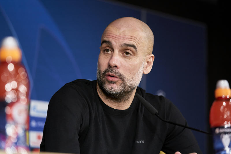 Pep Guardiola attends to Manchester City Press Conference at Santiago Bernabeu Stadium in Madrid, Spain on February 25, 2020. (Photo by A. Ware/NurPhoto via Getty Images)
