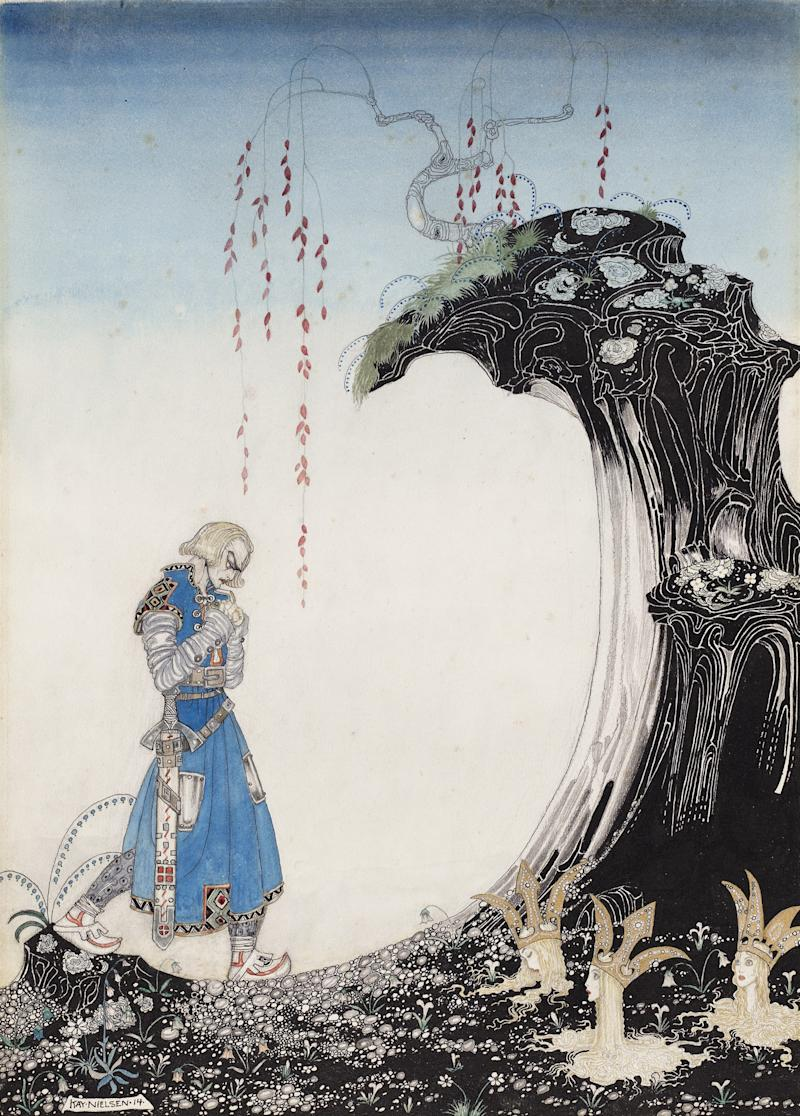Illustration from East of the Sun and West of the Moon. Kay Nielsen, 1914. Transparent and opaque watercolor, pen and brush and ink, metallic paint, over graphite. Promised gift of Kendra and Allan Daniel.