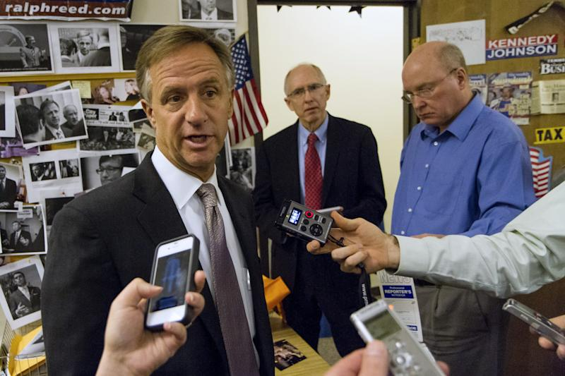 Gov. Bill Haslam speaks to reporters during an impromptu visit the press suite in the legislative office complex in Nashville, Tenn., on Tuesday, April 16, 2013. The Republican governor said he still doesn't know why federal agents searched the Knoxville headquarters of the family-owned Pilot Flying J chain of truck stops. (AP Photo/Erik Schelzig).
