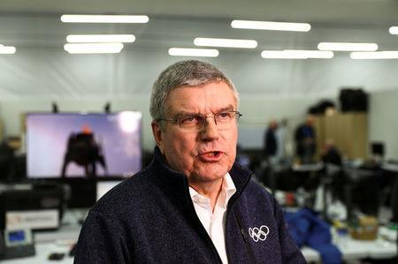 FILE PHOTO - Thomas Bach, the President of the International Olympic Committee, is pictured during a Reuters interview at the Main Press Centre (MPC), Pyeongchang, South Korea February 12, 2018. REUTERS/Leonhard Foeger