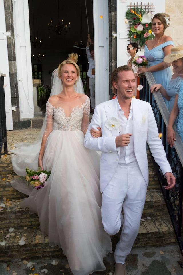 The couple married in tropical style on the island of St. Barths.