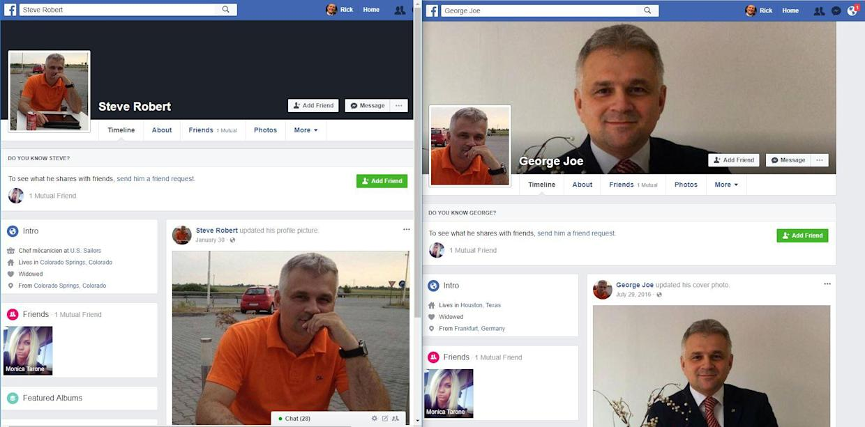 """George Joe"" of Houston and ""Steve Robert"" of Colorado Springs are both Facebook friends with ""Monica Tarone."" Their profile pictures are identical–and appear to belong to a Romanian police chief whose online images have been swiped for use in a variety of scams the chief himself has nothing to do with."