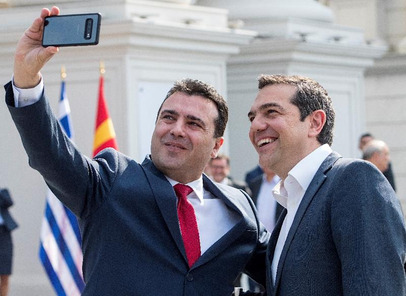 "The visit comes after Greek Prime Minister Alexis Tsipras (R) and his Skopje counterpart Zoran Zaev finalised the historic deal that added ""North"" to Macedonia's name (AFP Photo/Robert ATANASOVSKI)"
