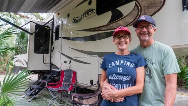 Alice and Larry Grimm say it was scary but also exciting to leave the structure of home life for the uncertainty of living and travelling in an RV. (Submitted by Larry Grimm - image credit)