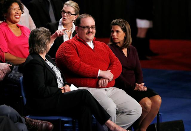 Ken Bone waits in the audience to ask a question during the presidential debate in St. Louis, Oct. 9, 2016. (Photo: Jim Bourg/Reuters)