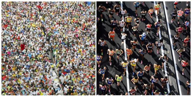 Runners fill the street at the start of the Tokyo Marathon in Tokyo,Japan