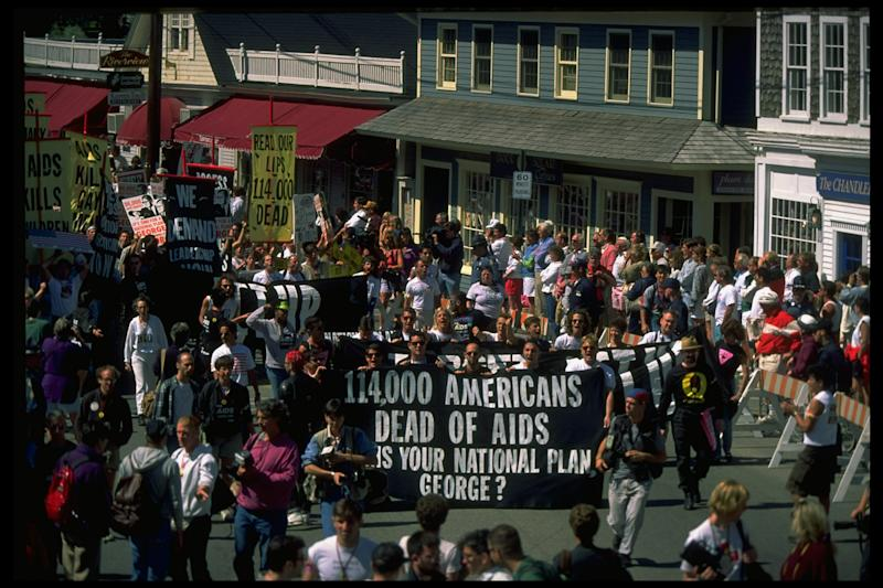 Protesters march near George H.W. Bush's vacation home in Kennebunkport, Maine, in September 1991. (Dirck Halstead via Getty Images)