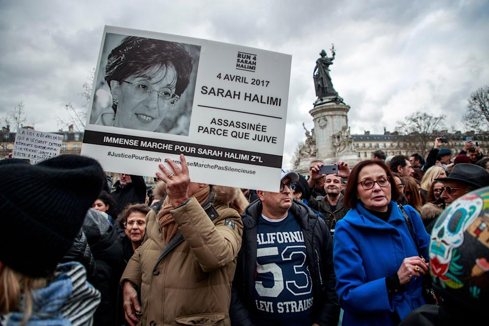 <p>Members of the French Jewish community gather at Place de la Republique last year demanding a trial for the murderer of Sarah Halimi. The 65-year-old Jewish woman was killed by a man that French Justice declared irresponsible for his acts and therefore cannot be tried for the antisemitic crime</p> (EPA)