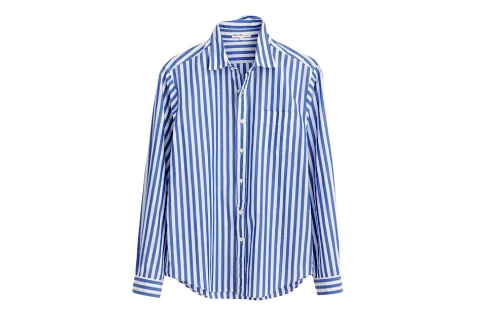 """$95, Alex Mill. <a href=""""https://www.alexmill.com/collections/mens-shirts/products/standard-shirt-in-bi-striped-cotton-in-navy-white"""" rel=""""nofollow noopener"""" target=""""_blank"""" data-ylk=""""slk:Get it now!"""" class=""""link rapid-noclick-resp"""">Get it now!</a>"""