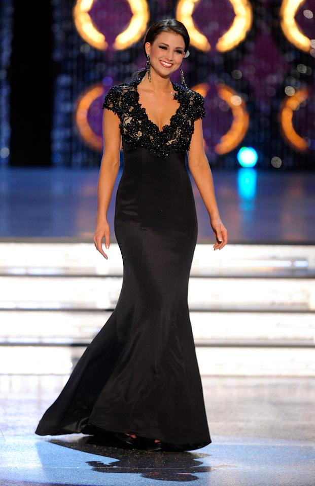 LAS VEGAS, NV - JANUARY 14:  Laura Kaeppeler, Miss Wisconsin, competes in the evening gown competition during the 2012 Miss America Pageant at the Planet Hollywood Resort & Casino January 14, 2012 in Las Vegas, Nevada. Kaeppeler went on to be crowned the new Miss America.  (Photo by Ethan Miller/Getty Images)
