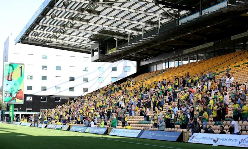 A small number of Norwich fans attended the Championship match against Preston but the safe return of supporters to stadiums has been paused.
