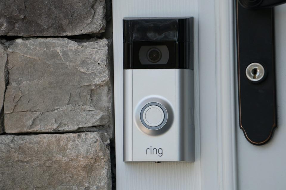 ring doorbell mounted outside home