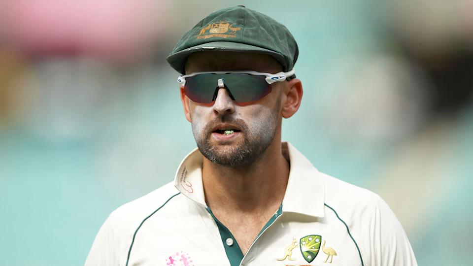 Nathan Lyon is pictured here during the middle of a Test match for Australia.