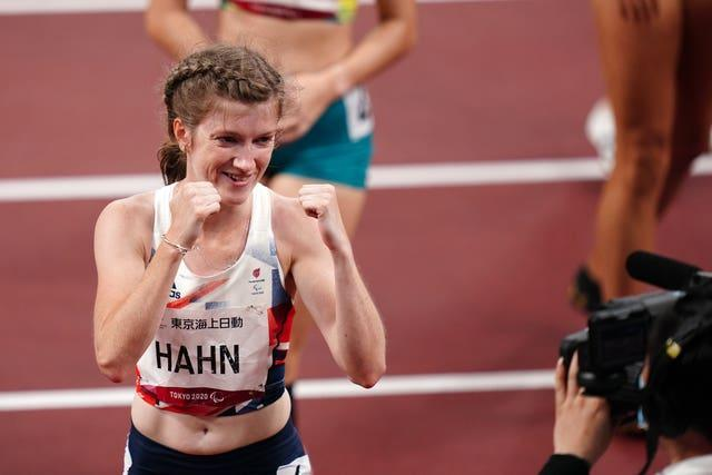 Great Britain's Sophie Hahn celebrates winning gold in the women's 100m – T38