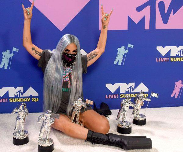 <p>We're getting major 2012 throwback vibes from Gaga's platform boots and MTV t-shirt. </p>