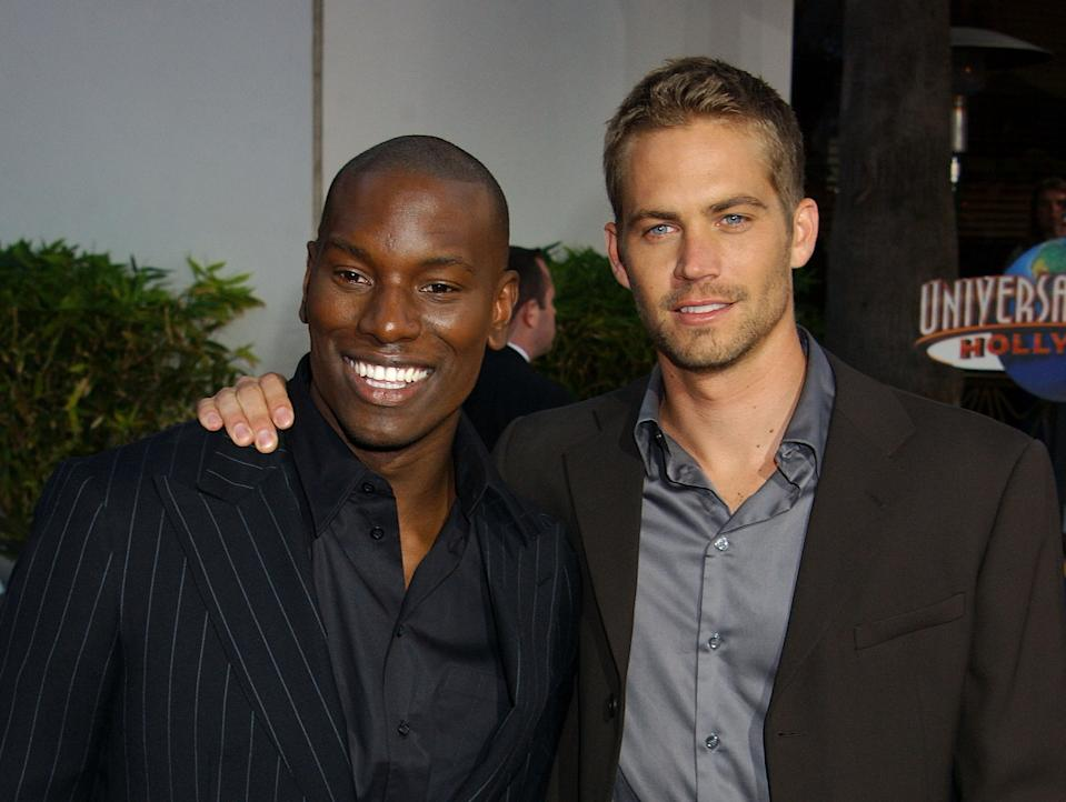 """Tyrese & Paul Walker during The World Premiere Of """"2 Fast 2 Furious"""" - Arrivals at Universal Amphitheatre in Universal City, California, United States. (Photo by Gregg DeGuire/WireImage)"""