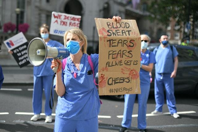 NHS worker protests