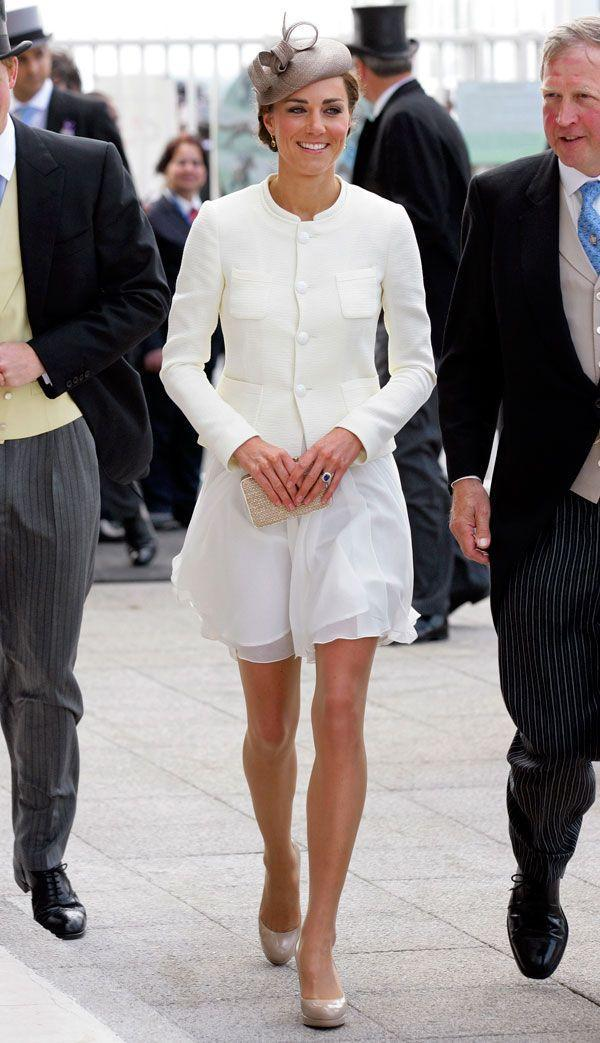<p>Hats off to a Reiss dress, Joseph jacket, and L.K. Bennett shoes and clutch, which she wore at the Derby Festival at Epsom Downs Racecourse.</p>