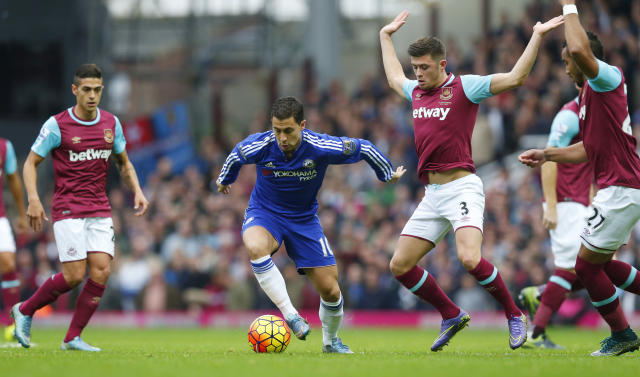 "Football - West Ham United v Chelsea - Barclays Premier League - Upton Park - 24/10/15 Chelsea's Eden Hazard in action with West Ham's Aaron Cresswell Reuters / Eddie Keogh Livepic EDITORIAL USE ONLY. No use with unauthorized audio, video, data, fixture lists, club/league logos or ""live"" services. Online in-match use limited to 45 images, no video emulation. No use in betting, games or single club/league/player publications. Please contact your account representative for further details."