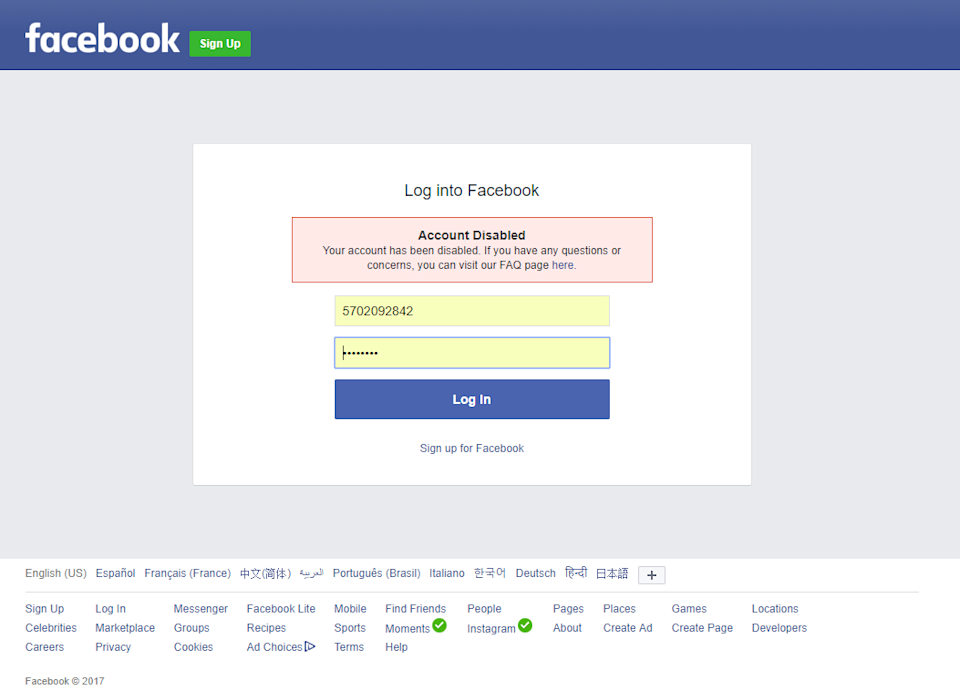 This was the inevitable result every time I tried to build a fake Facebook account from scratch.