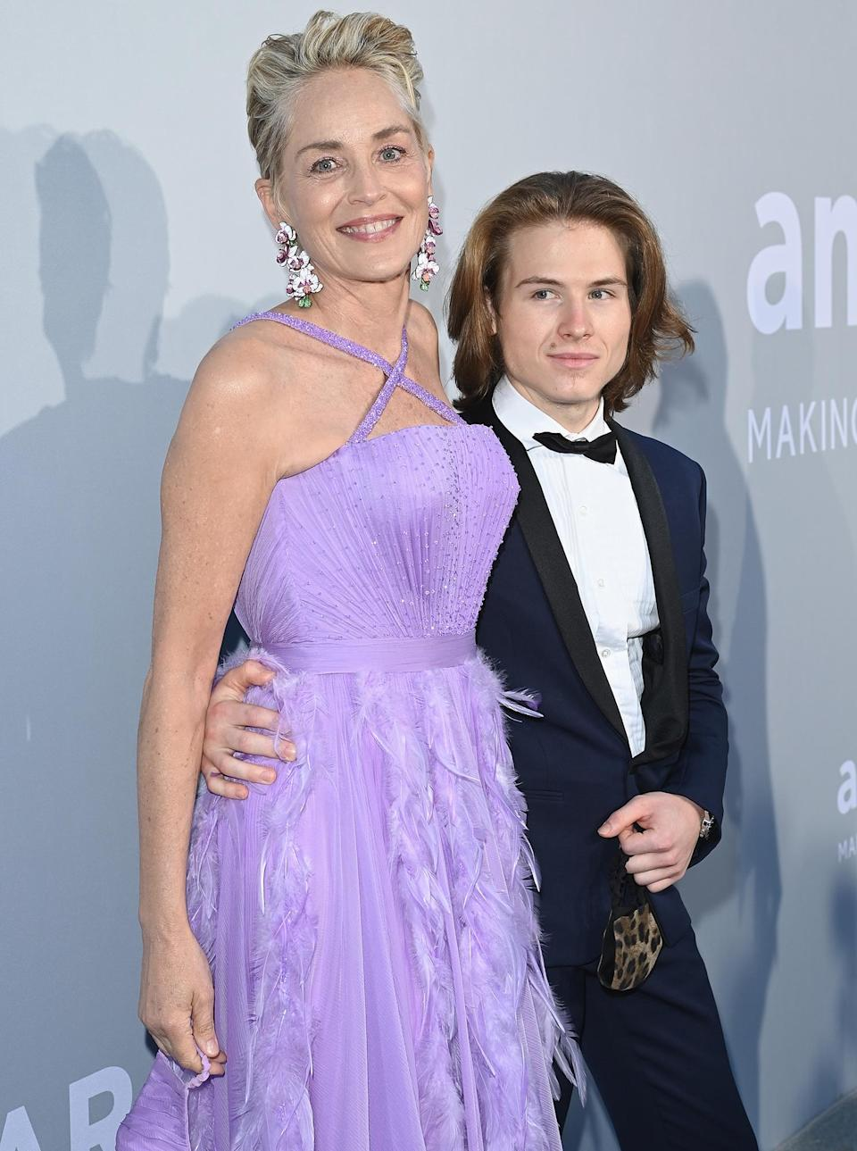 <p>Sharon Stone and her son Roan Joseph Bronstein Stone attend the 2021 amfAR Cannes Gala at Villa Eilenroc on July 16 in Cap d'Antibes, France.</p>
