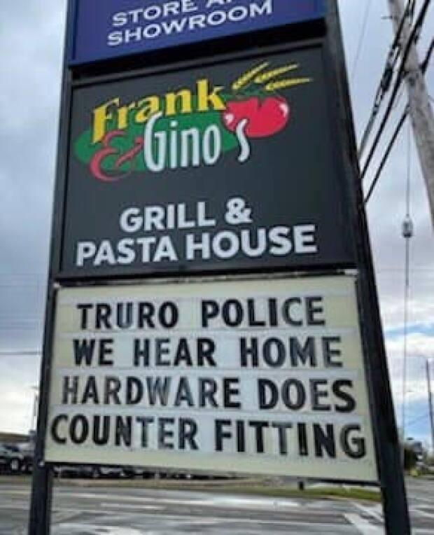 """Frank and Gino's Grill and Pasta House called on the local police to check on Home Hardware's """"counter fitting."""""""