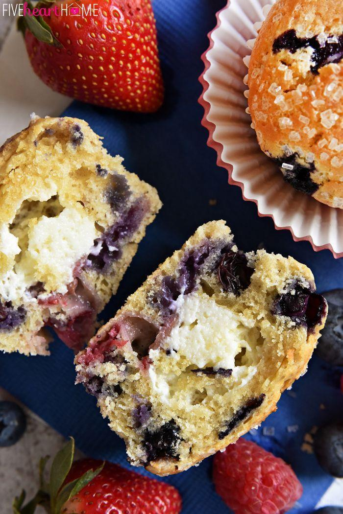 "<p>The best kind of muffins have surprises inside.</p><p>Get the recipe from <a href=""http://www.fivehearthome.com/2015/06/28/mixed-berry-cream-cheese-muffins/"" rel=""nofollow noopener"" target=""_blank"" data-ylk=""slk:Five Heart Home"" class=""link rapid-noclick-resp"">Five Heart Home</a>.</p>"