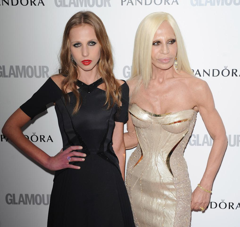 LONDON, UNITED KINGDOM - MAY 29: Allegra Versace and Donatella Versace attend Glamour Women of the Year Awards 2012 at Berkeley Square Gardens on May 29, 2012 in London, England. (Photo by Stuart Wilson/Getty Images)