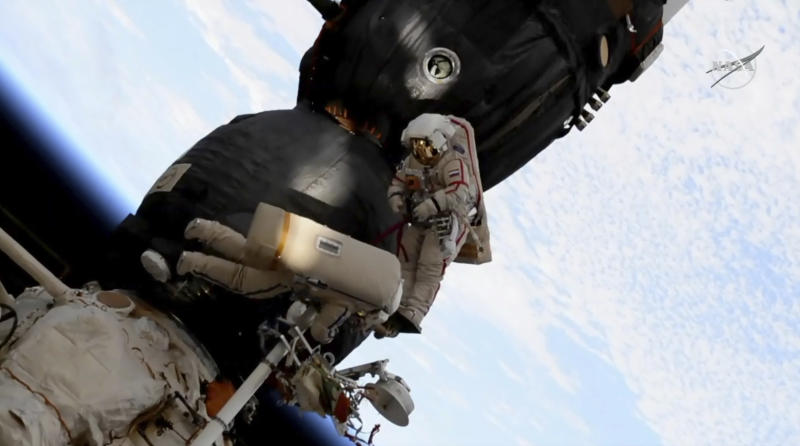 Watch Russian cosmonauts spacewalk to check out hole in Soyuz capsule