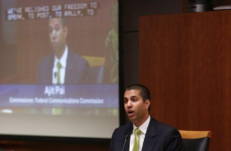 Federal Communications Commission commissioner Ajit Pai speaks at a FCC Net Neutrality hearing in Washington