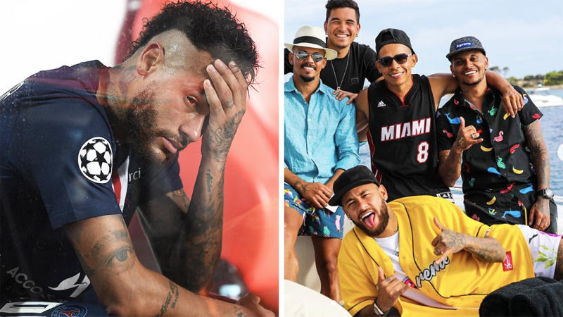 Neymar (pictured left) looking dejected after the Champions League Final and (pictured right front) on holiday smiling.